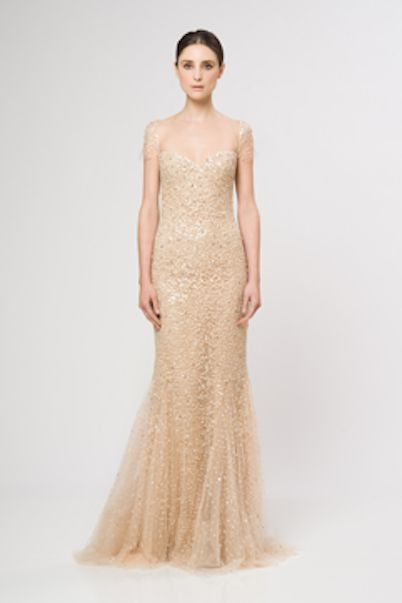 Reem Acra Peach Gold Gown Size 12   eBay