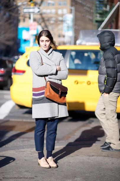 where did u get that blogger winter coat satchel bag cropped pants coat shoes bag