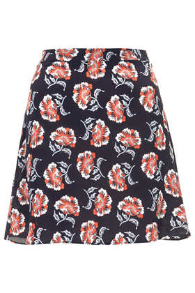 Navy Floral Silk Skirt by Boutique - Skirts - Clothing - Topshop