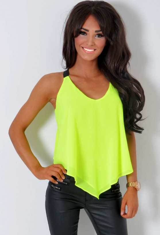 Celebrity-inspired fashion for Women Acid Fizz Neon Yellow Drape Cross Back Top Pink Boutique
