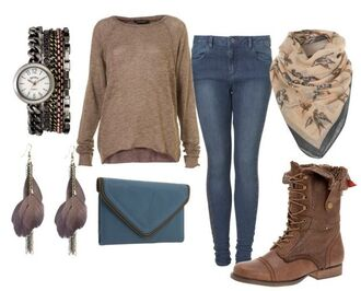 sweater oversized sweater clock jeans scarf earrings combat boots wallet jewels bag shoes