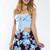 Night Bloomer Skirt - Blue
