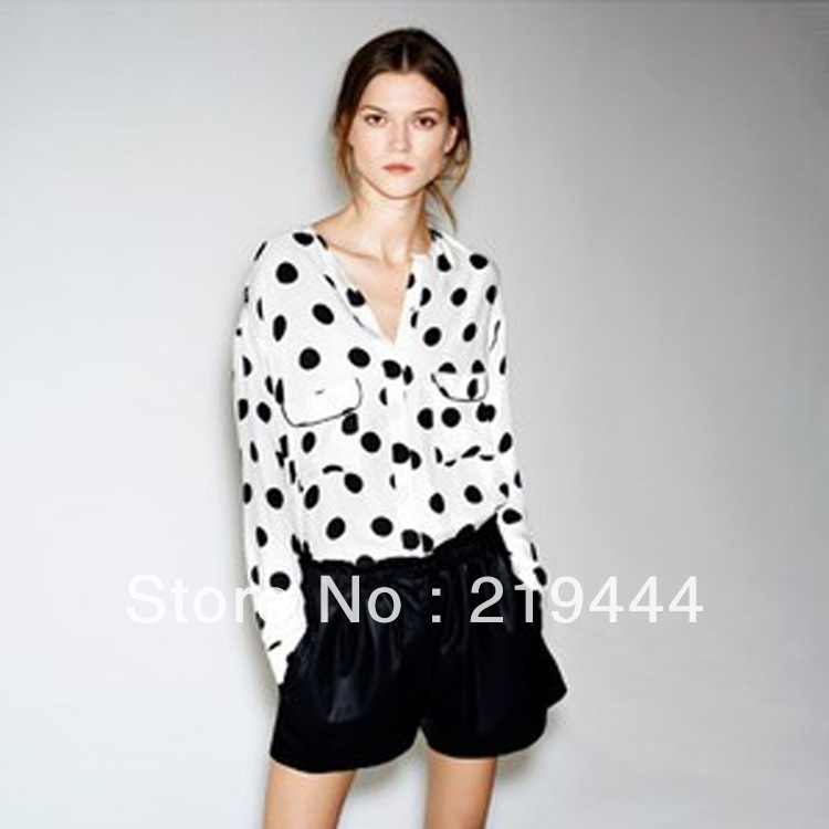 New fashion womens' elegant Polka dot print Chiffon Blouse loose style beige black dot shirts OL casual shirt long sleeve-in Blouses & Shirts from Apparel & Accessories on Aliexpress.com