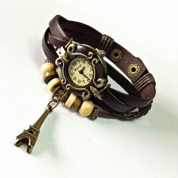 jewels paris watch wrap watch watch watch leather watch jewelry fashion style accessories vintage style hair accessory