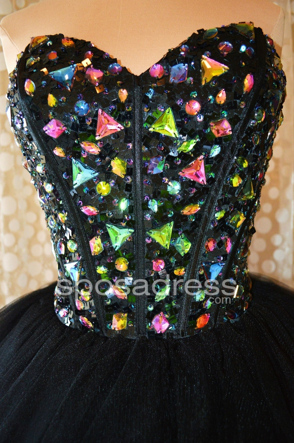 Delicate Black Sweetheart Tiered Puffed Homecoming Dress With Abundant Crystals - Sposadress.com
