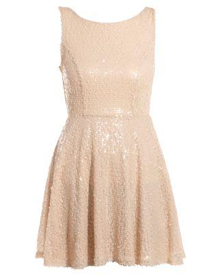 Shell Pink Sequin Sleeveless Skater Dress