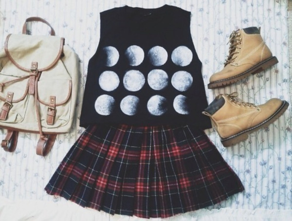 skirt shirt scotish chacked red black beautiful moon blouse boots rucksack cute mini shirt mini skirt bag shoes
