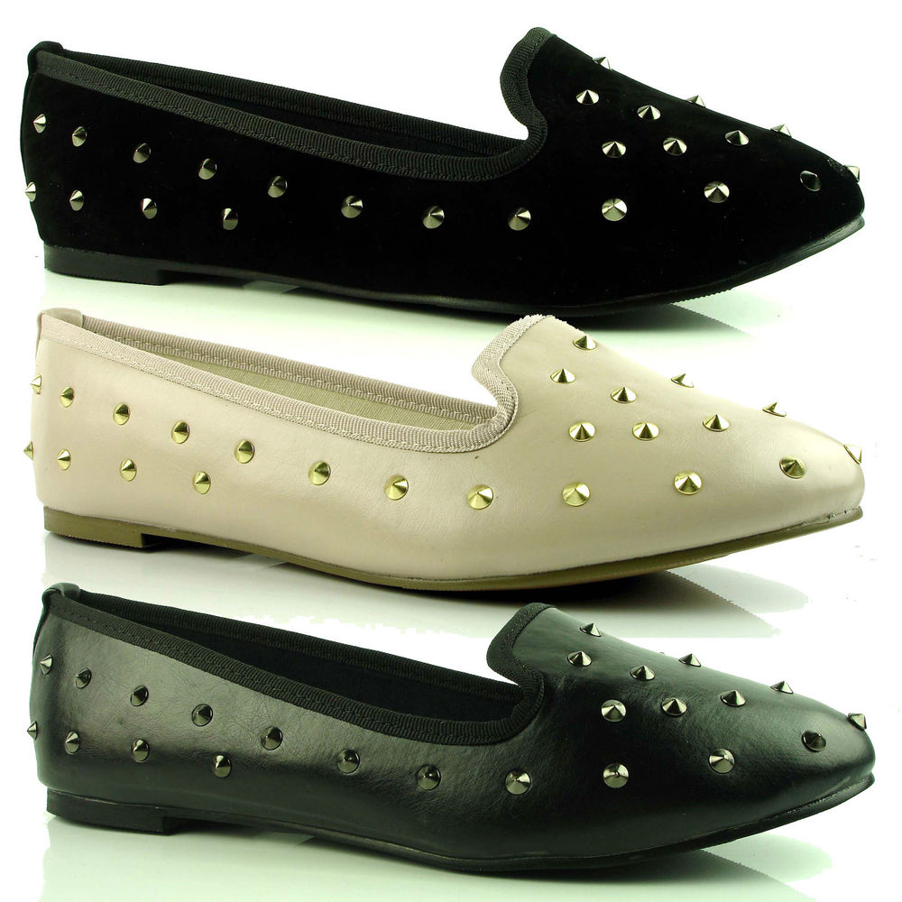 Womens Ladies Flat Stud Studded Loafers Slip on Slippers Pumps Shoes Size | eBay