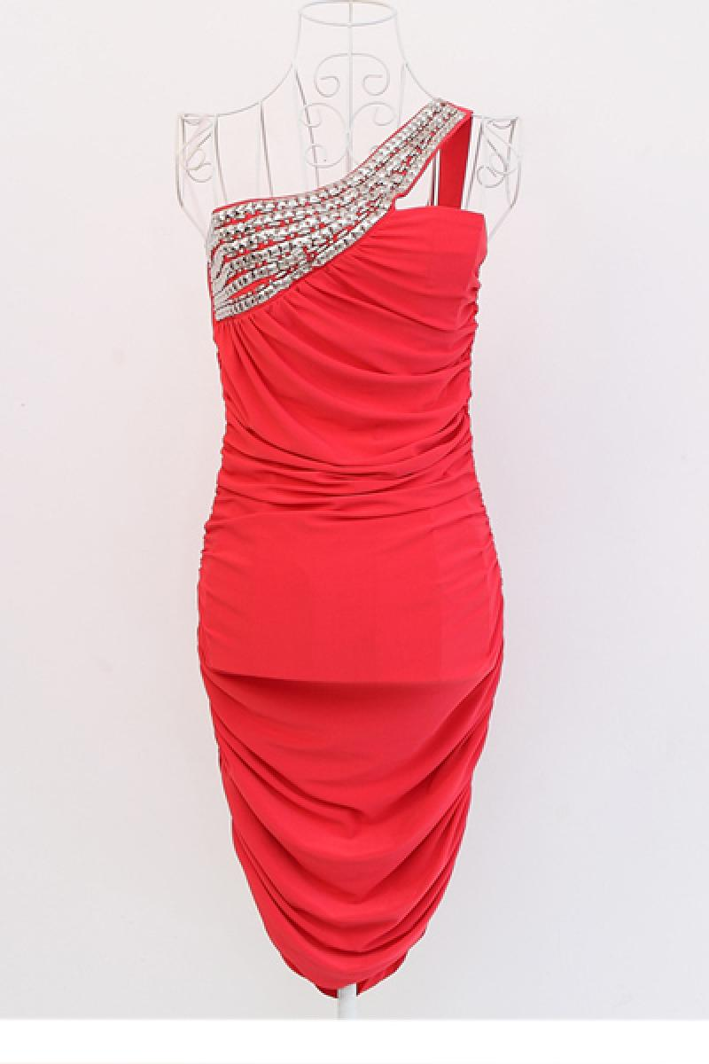 New Luxury Nail Bead Inclined Shoulder Dress,Cheap in Wendybox.com