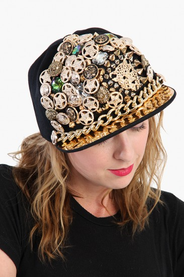 LoveMelrose.com From Harry & Molly | DERYCK TODD EMBELLISHED HAT with CHAIN Black