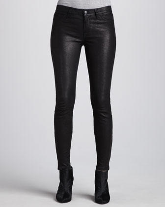 J Brand Jeans L8001 Noir Leather Super Skinny Pants - Neiman Marcus