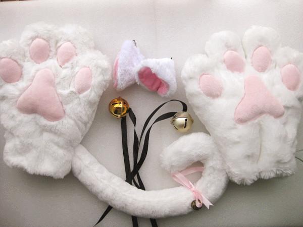 3 Color Cat Maid Cosplay Neko Anime Animal Party Costume Lolita Paws Ear Tail   eBay
