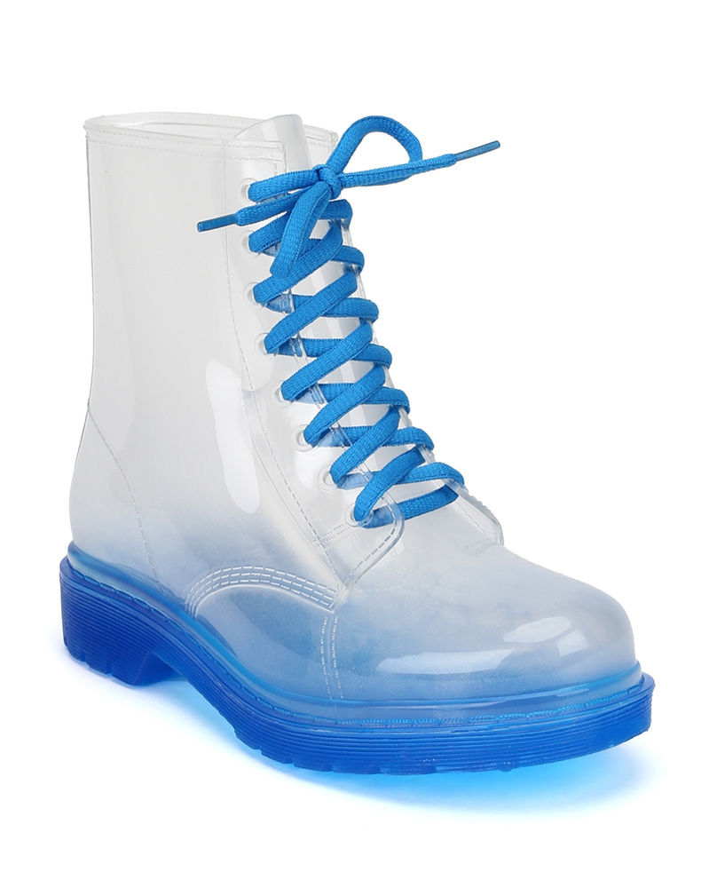 Rosette Spectrum 01 New Ladies Women Clear Jelly Lace Up Military Rain Boots | eBay
