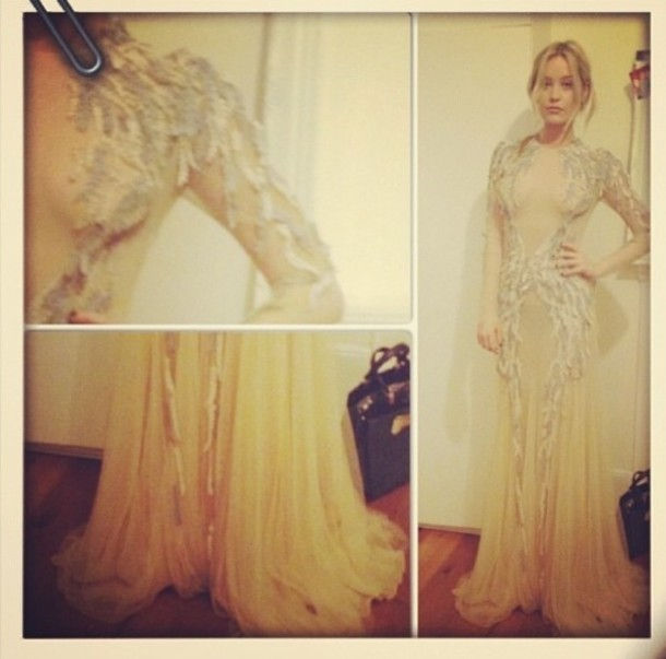 dress feathers embroidered mesh nude silver sequins glitter diamonds celebrity