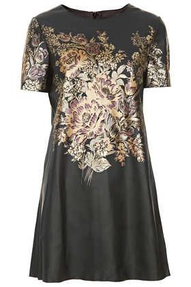 Flower Print PU Shift Dress - Dresses  - Clothing  - Topshop