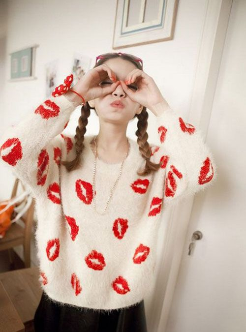 European And American Ladies Wind Comfortable And Warm Mohair Sweater Cute And Pretty Loose Lips - DualShine
