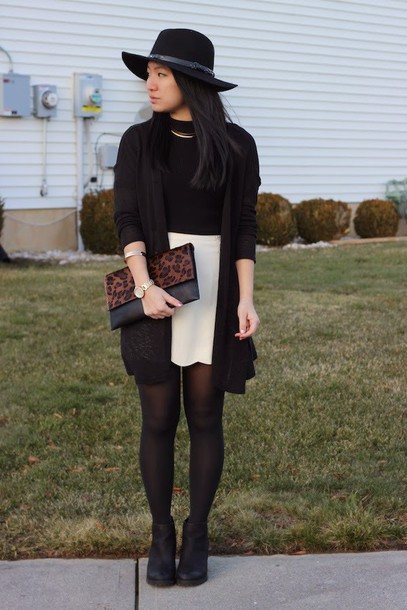looks by lau blogger hat cardigan white skirt pouch animal print