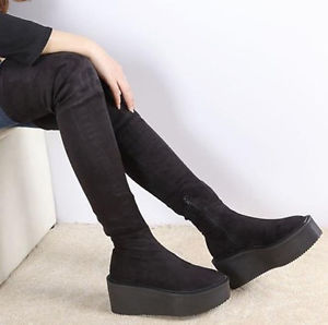 Fashion Womens Girls High Platform Over The Knee High Thigh Boots Creeper Shoes | eBay
