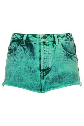 MOTO Mint Acid  Wash Denim Hotpants - Topshop