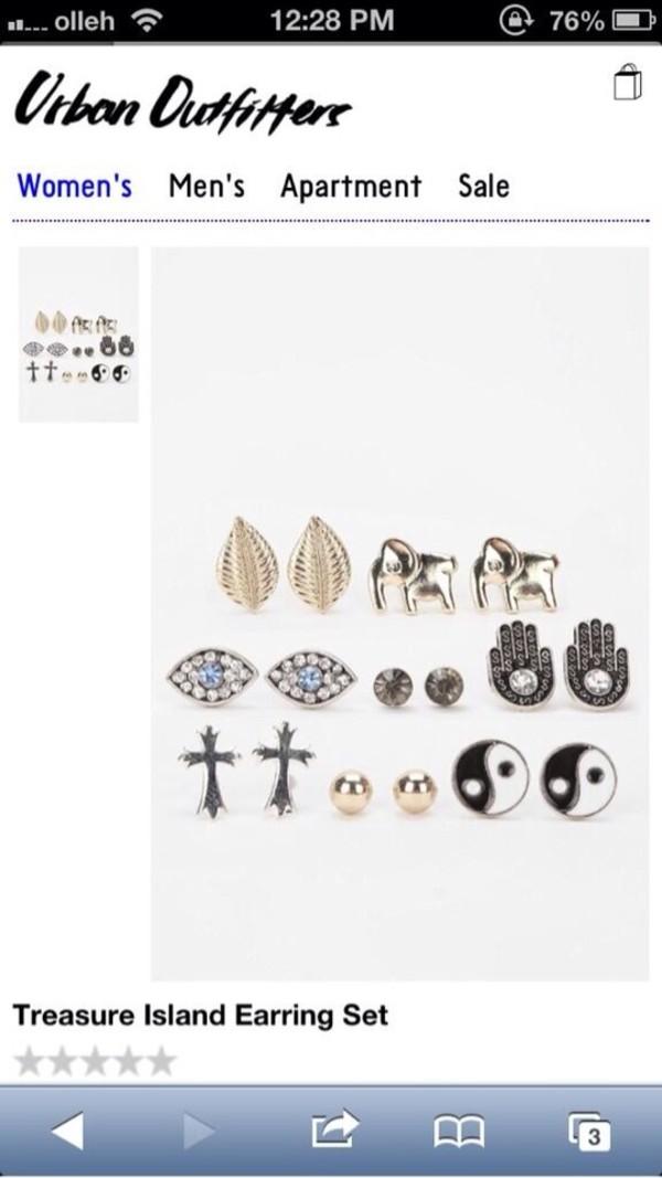 jewels earrings studs yin yang hansa elephant