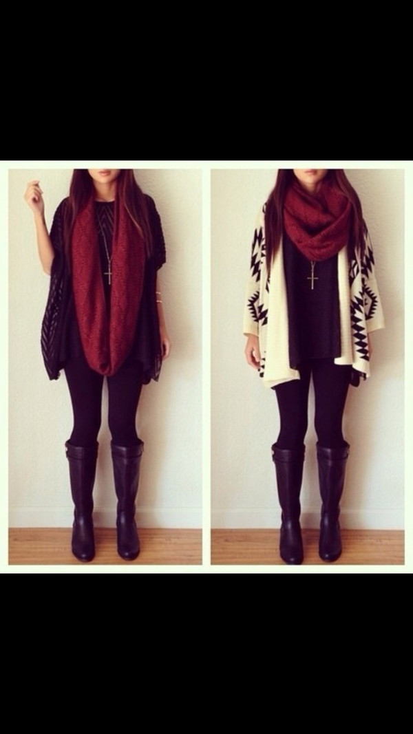 sweater scarf coat aztec aztec cream cream color jacket cute soft grunge grunge knitted cardigan cardigan knitwear black shoes maroon scarf pants jewels leather boots black and white infinity scarf boots burgundy aztec sweater oversized sweater black boots black cardigan tribal cardigan t-shirt necklace tights leggings winter outfits winter boots