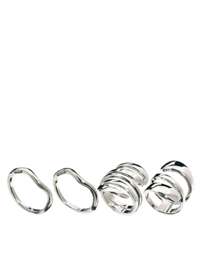 ASOS | ASOS Twisted Mix Ring Pack at ASOS