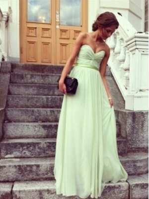 Buy Adorable Sage A-line Sweetheart Floor Length Prom Dress under 200-SinoAnt.com