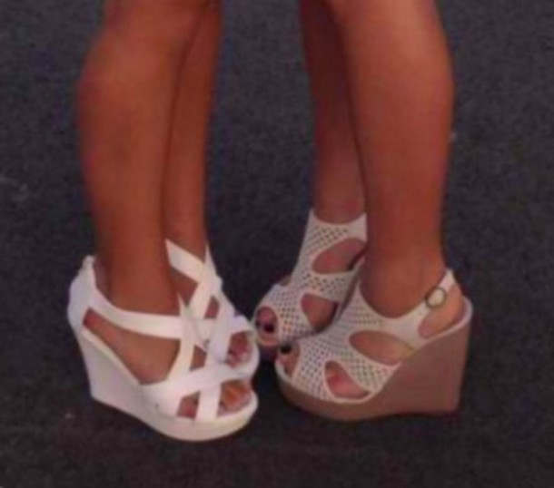 shoes white wedges white high heels