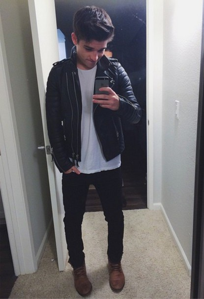 shoes boots leather jacket jacket cool selfie sean o'donnell