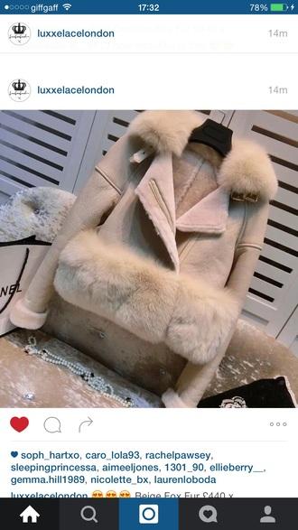 coat nude fur panel leather leather jacket faux fur fur trim biker jacket