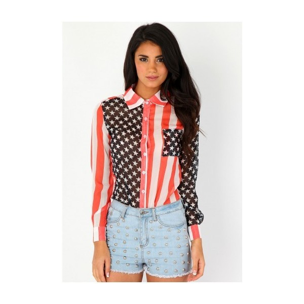 Missguided Sheer American Flag Blouse - Polyvore