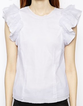 ASOS | ASOS Top with Ruffle Sleeve and Mesh Overlay at ASOS