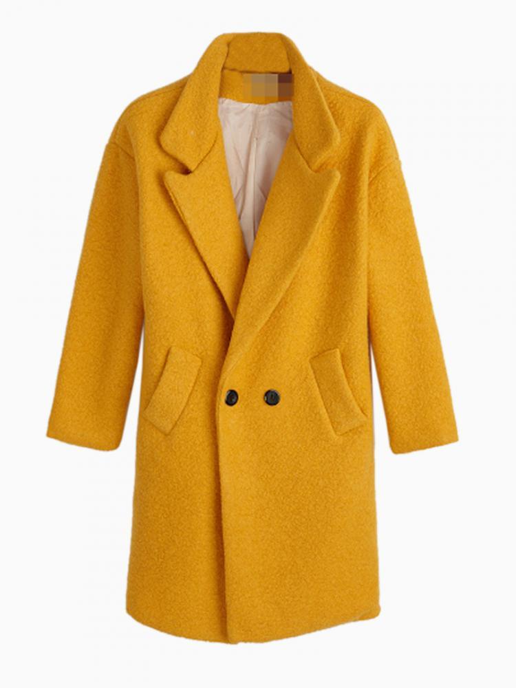 Longline Double Breasted Woolen Coat In Yellow   Choies