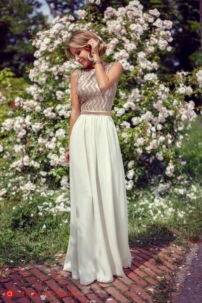 dress cream gold dress zigzag print