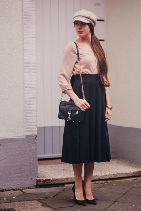 frau eismann hat blouse skirt coat bag shoes
