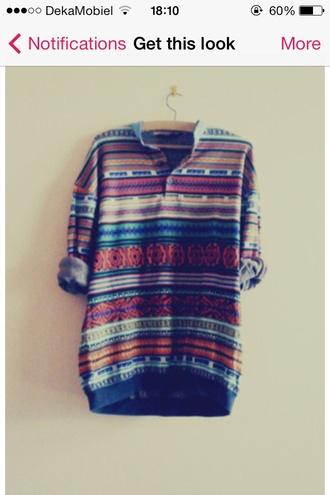 blouse tribal pattern shirt colorful patterns colorful prints colorful hipster hippie chic hippie boho aztec button up