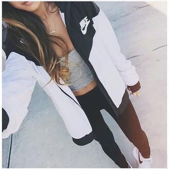 jacket nike white black zip-up