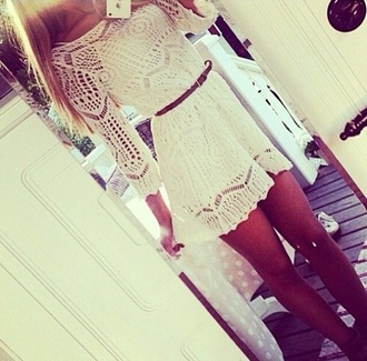 dress white dress lace dress skater dress dolly skater dress teenagers fit and flare white black body net dress crochet dress white crochet white short dress lace tan legs summer time cute dress summer dress crochet oversized white lace dress belt knitted dress short dress trendy