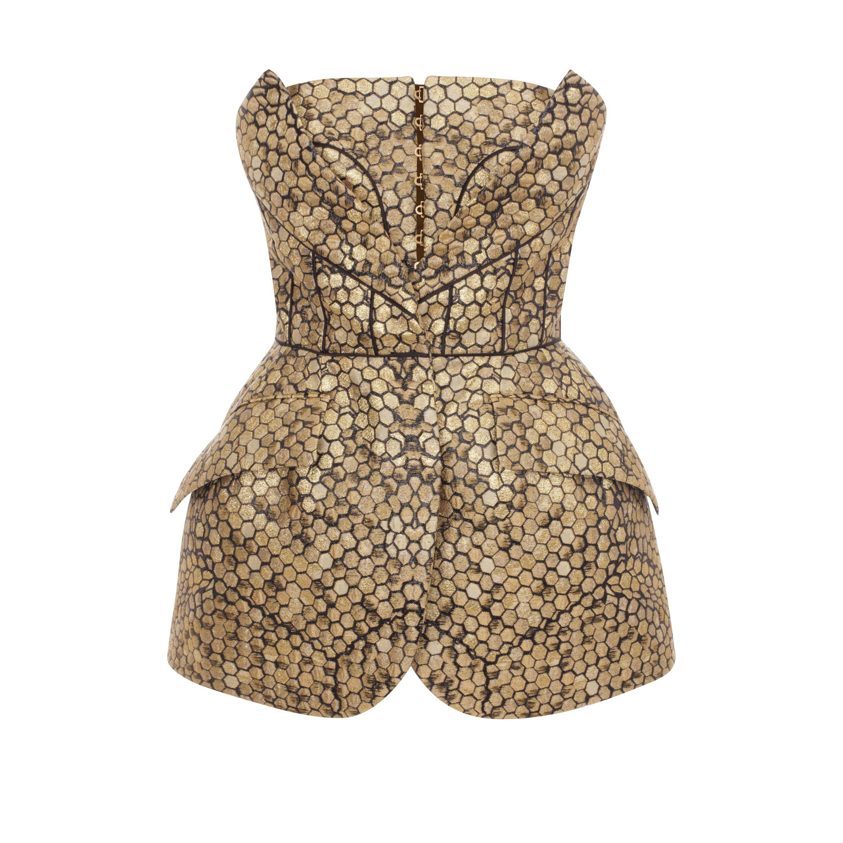 Bee Honeycomb Bombe Hip Bustier Alexander McQueen | Silk Top | Tops Knitwear |