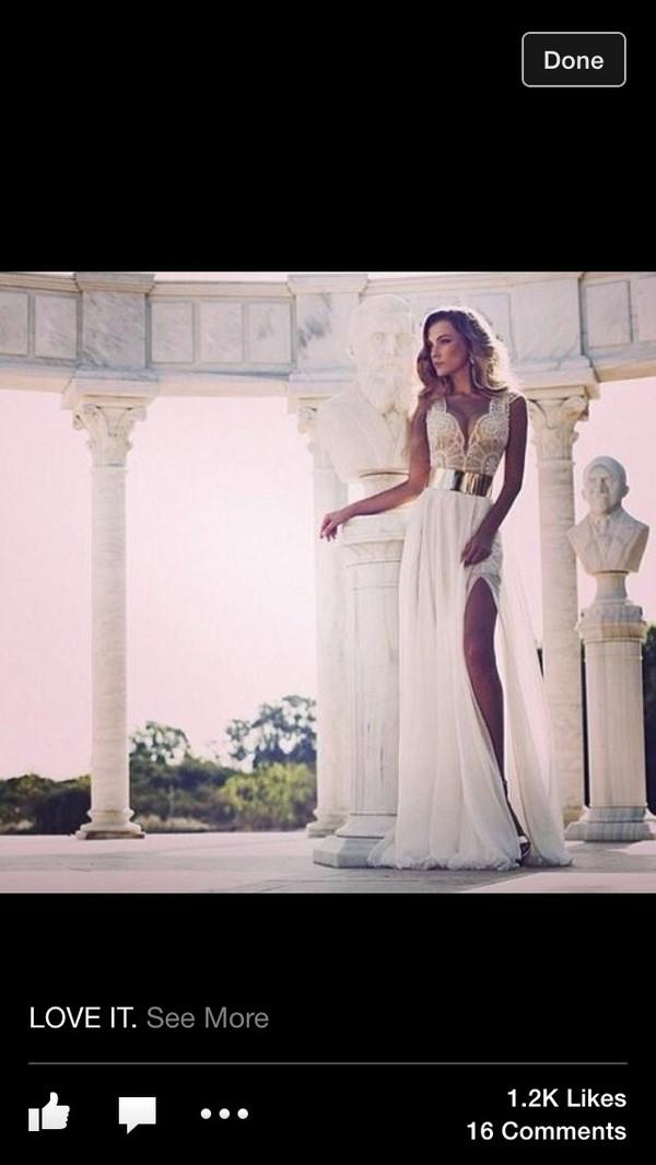 dress lace dress ivory gown gold belt slit