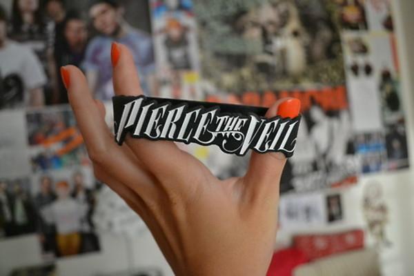 shirt bracelets pierce the veil pierce the veil band love cute writst black white