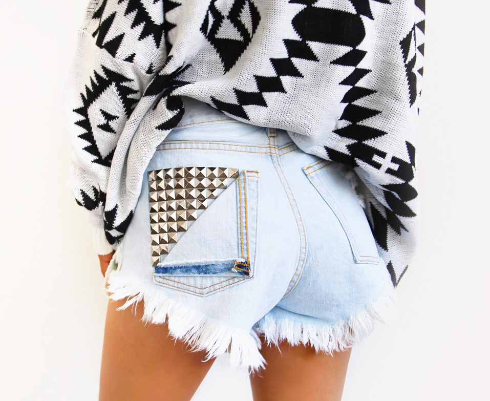 Jett Pale Frayed Studded Shorts | RUNWAYDREAMZ