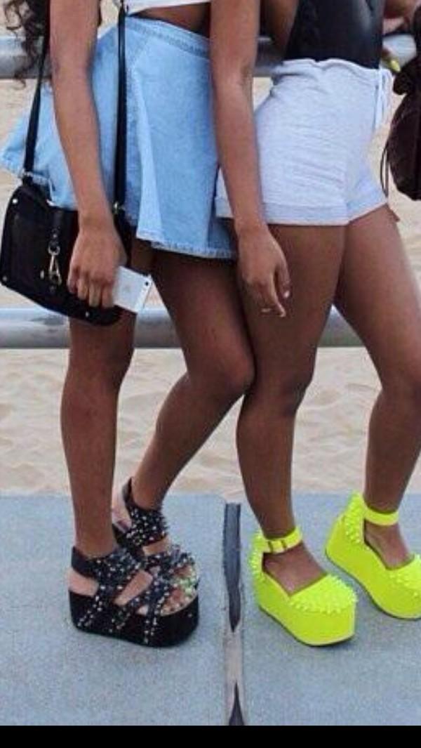 shoes platform shoes platform shoes lime spikes shorts sandals rivets studs neon skirt pants