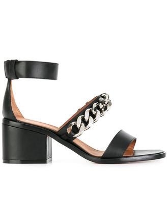 heel metal women sandals leather black shoes