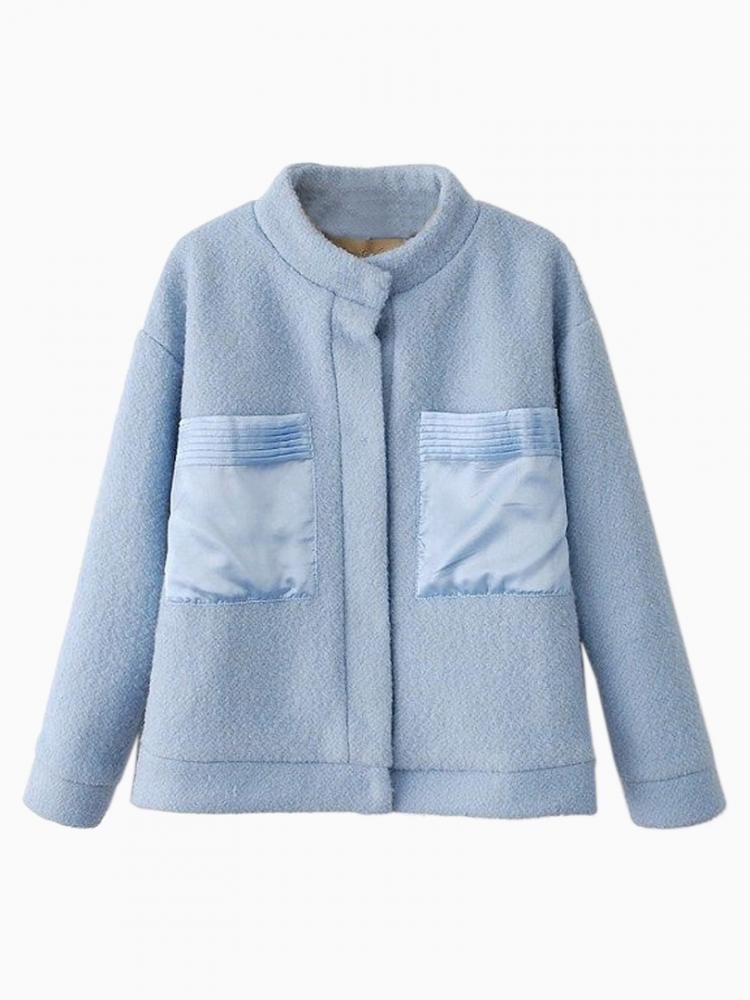 Light Blue Fleece Coat with Oversize Pocket | Choies