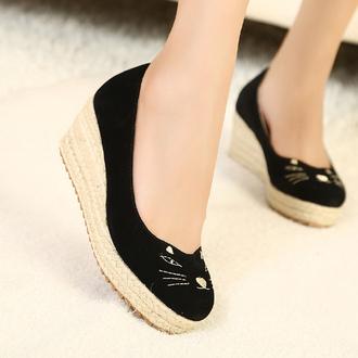 shoes cat shoes low wedges black cat cute