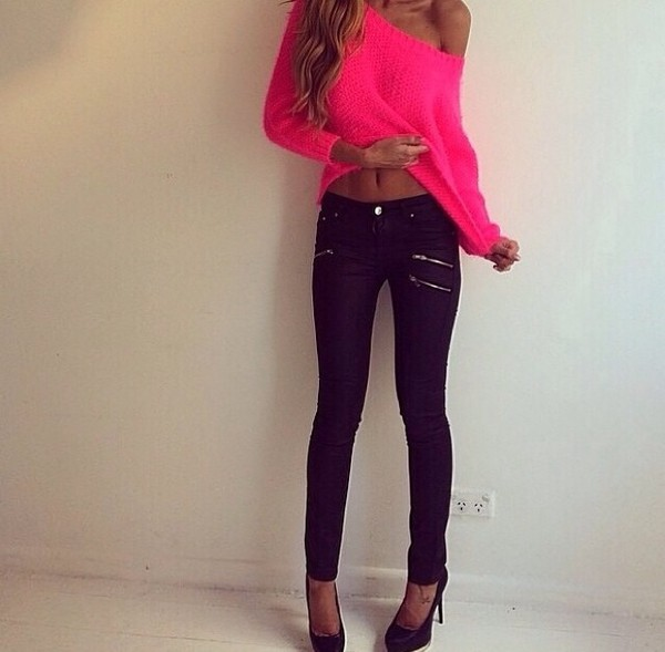 blouse pink neon pink off the shoulder sweater pants dark blue shirt