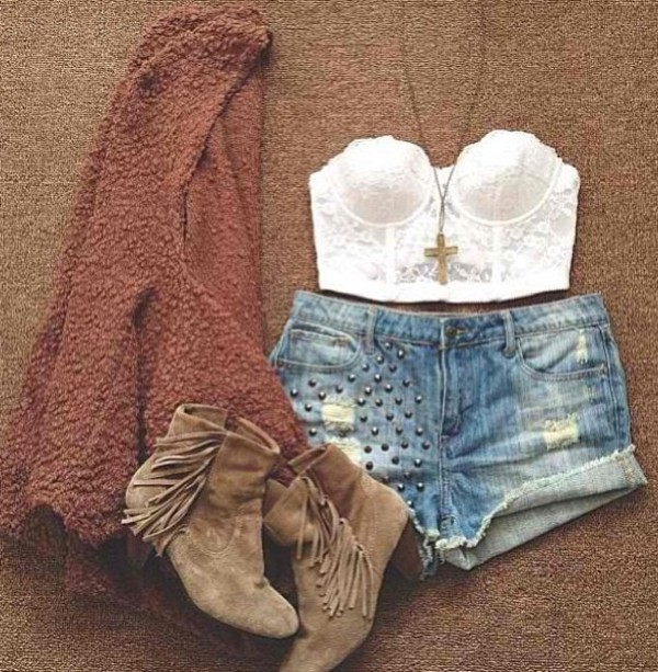 shorts cardigan corset top lace High waisted shorts ankle boots cross necklace coat shoes shirt summer top