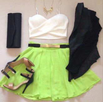 tank top skirt green skirt neon gold belt belt gold bustier top bralette gold necklace necklace jacket clutch heels clothes neon green skirt white tank top shoes jewels
