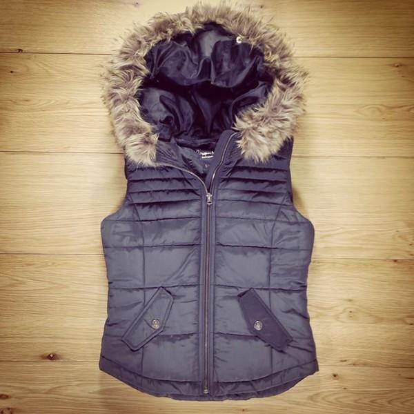 coat fur vest black fur